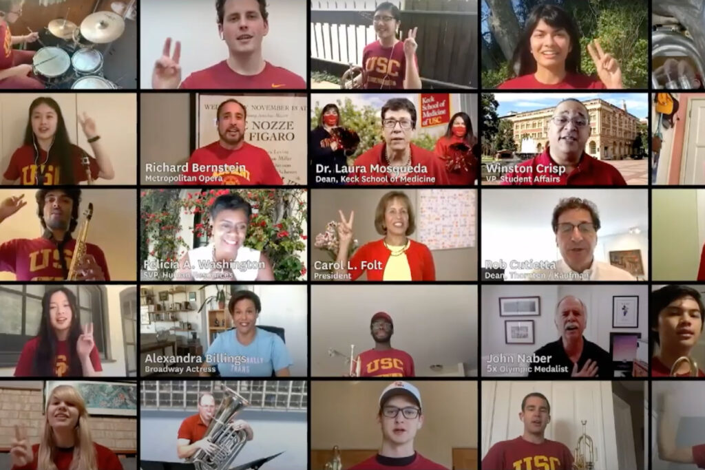 USC students on Zoom