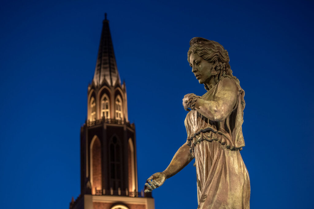 Statue of Hecuba at night, USC Village
