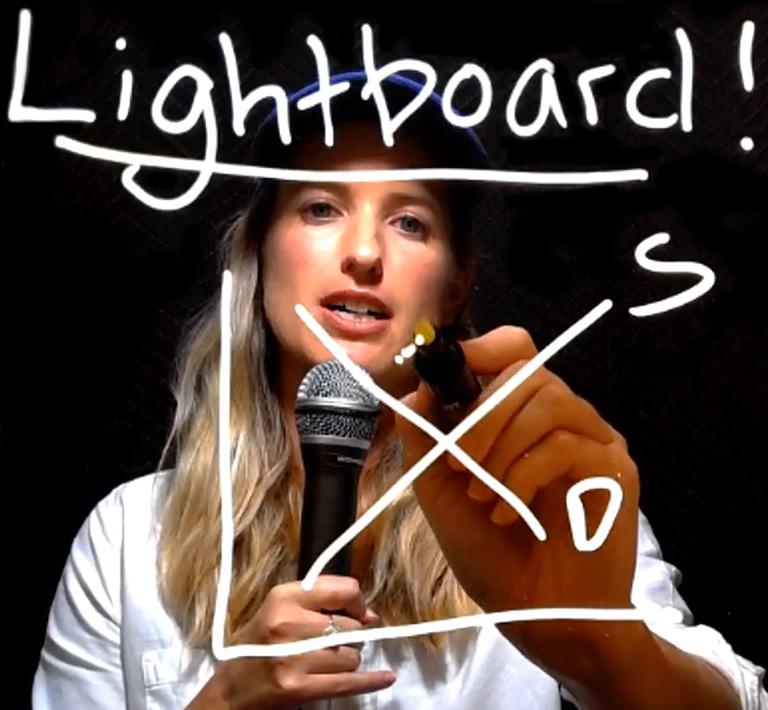USC professor drawing on a lightboard