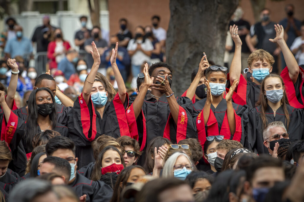 Students from Kaufman school of dance react to their introduction during new student convocation, August 19, 2021.